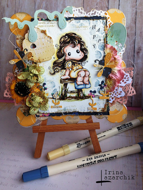 Irina Lazarchik, Ирина Лазарчик, magnolia stamps, distress watercolour