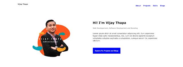 Portfolio Website Design - Vijay Thapa (About Section)