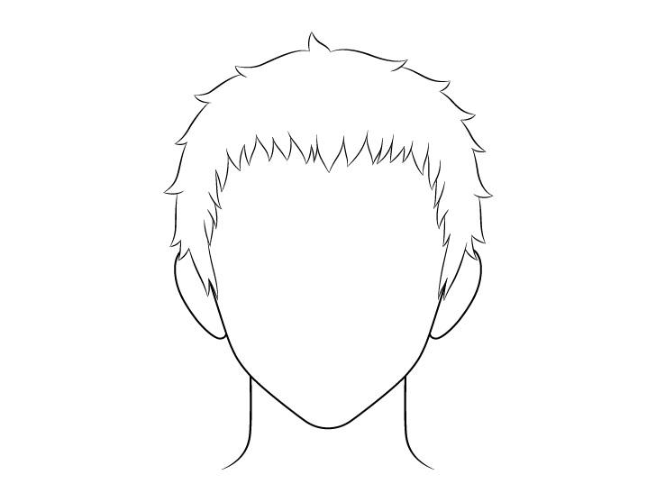 Anime gambar garis rambut pria pendek