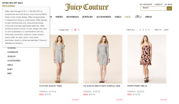 Juicy Couture Additional 30% off Sale + 20% off purchases of $200 and more