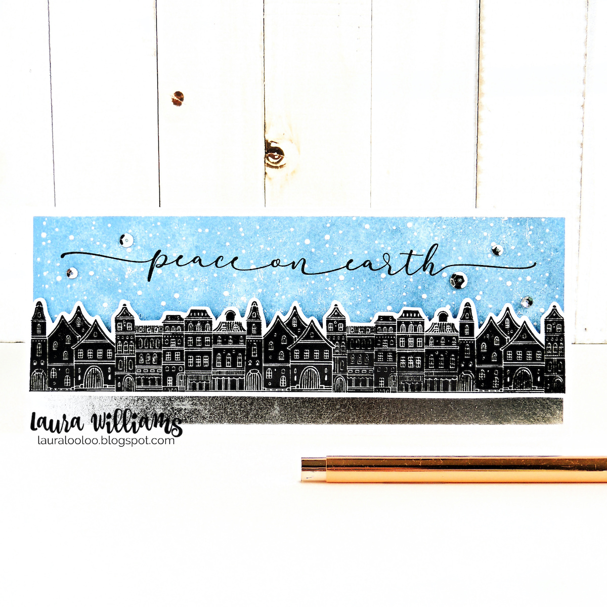 Peace on Earth winter village scene for a handmade holiday slimline card. Use new Slim Scenes stamps from Impression Obsession for slimline card making ideas. Click to see inspiration using these stamps for handmade cardmaking  and paper crafts.