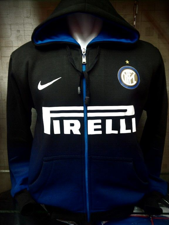 Jaket Hoodie Inter Milan Hitam Gradasi Biru