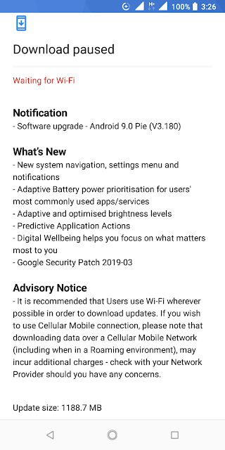 Nokia 3.1 receiving Android Pie and March 2019 Android Security update