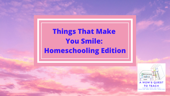 Text: Things That Make You Smile: Homeschooling Edition; A Mom's Quest to Teach Logo; background of sunset