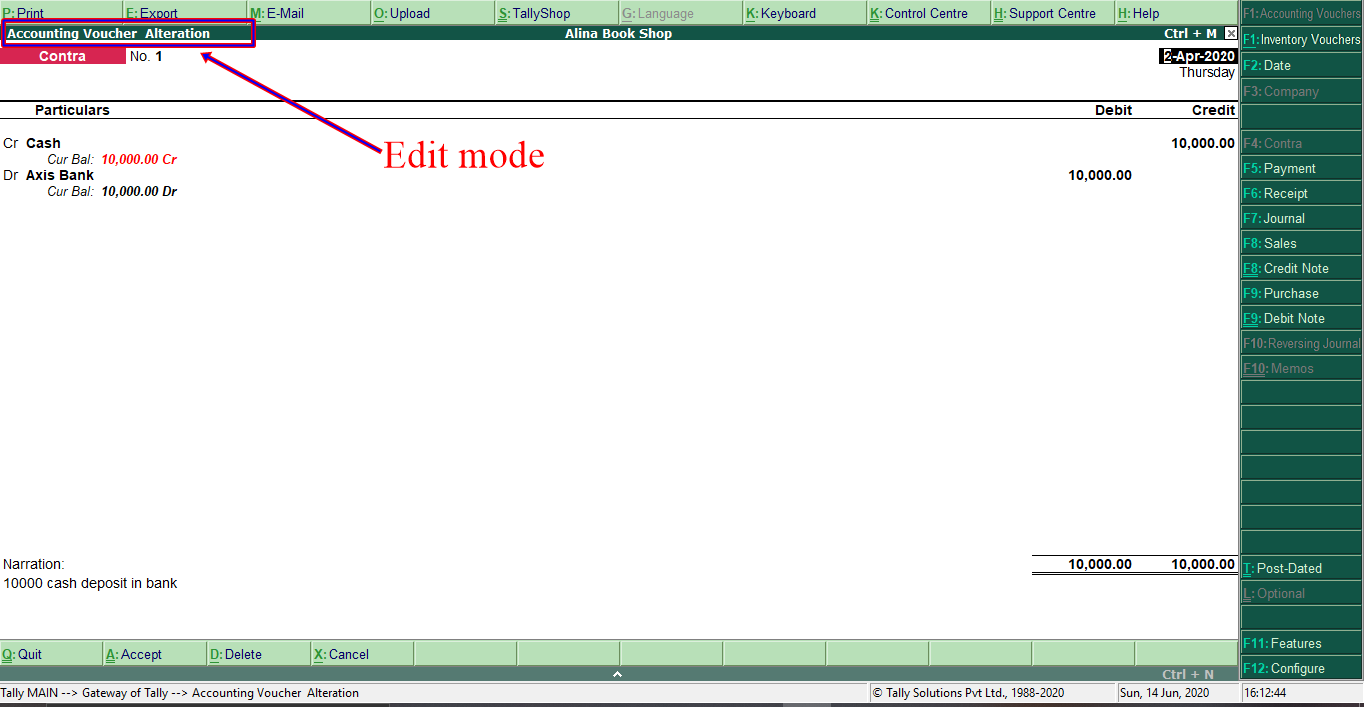Contra Voucher Edit Mode
