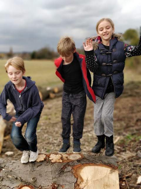 children enjoying country walk