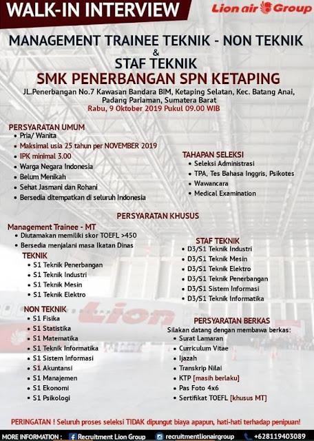 Lowongan Kerja Lion Air Group Oktober 2019