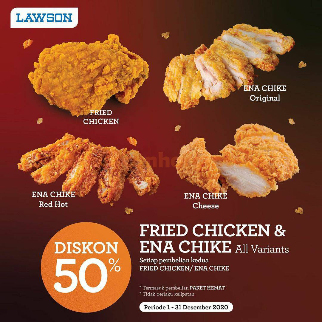 LAWSON Promo Diskon 50% untuk Fried Chicken & Ena Chike All Varian