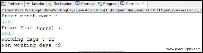 Output of Java program that finds working and non-working days for given month and year.