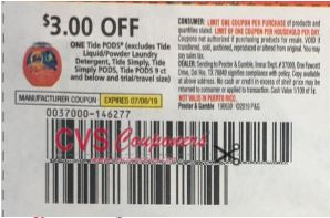 "$3/1 Tide Pods Coupon from ""RMN"" insert week of 6/30/19."