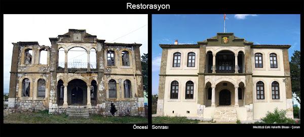 Eski bir yapının restorasyon öncesi ve sonrasını gösteren yan yana resimler