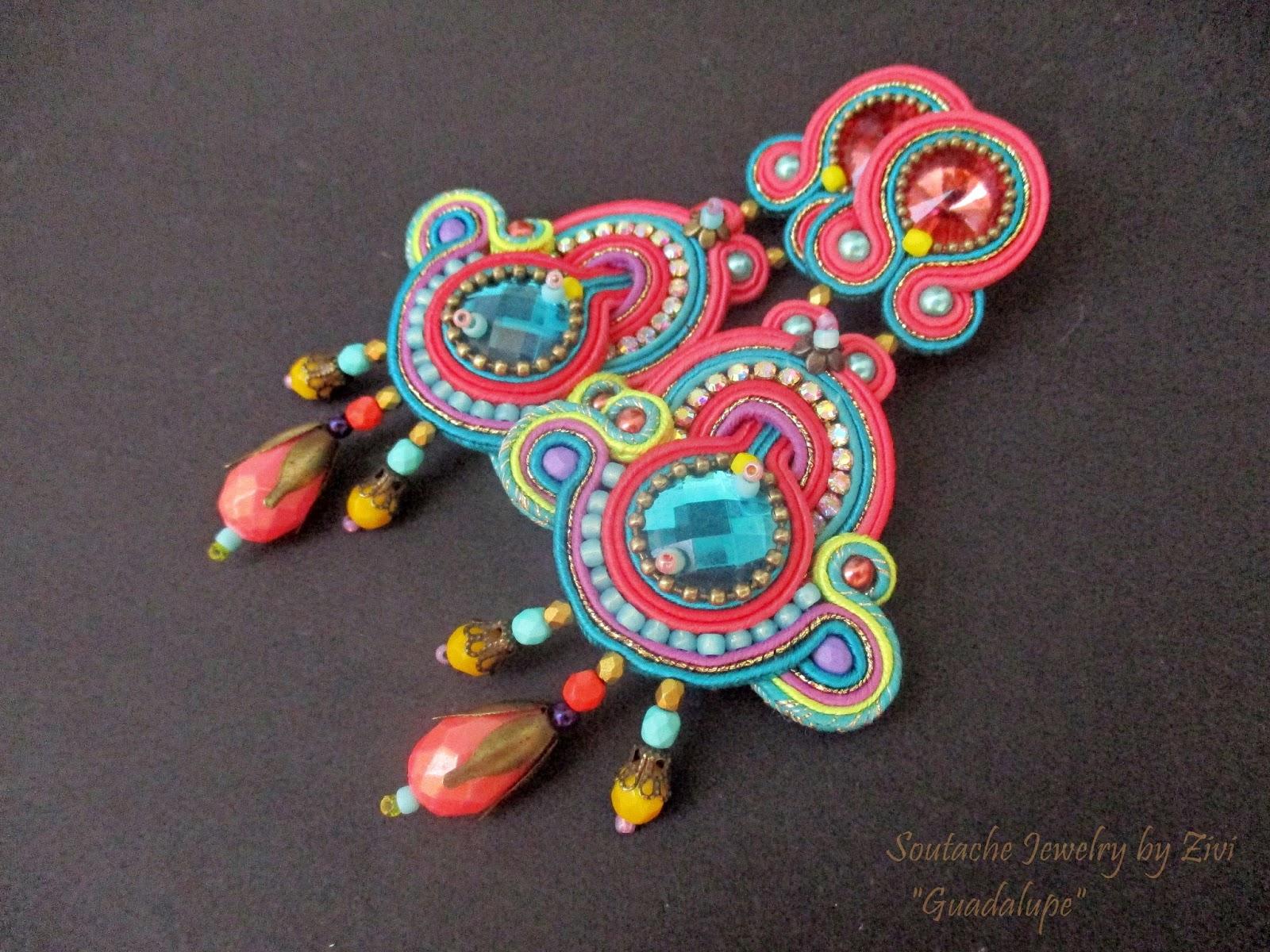 6d14254f6c77 Un modelo de pendientes de soutache largos y coloridos perfecto para traje  de flamenca o invitada a boda.
