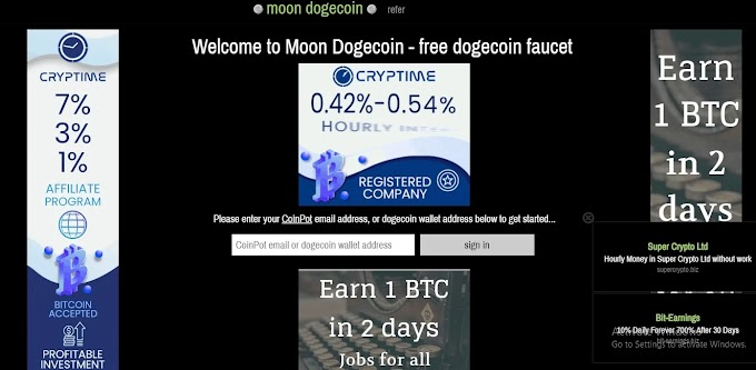 Moon Dogecoin : 100% Free faucet to earn Dogecoin and Free Bitcoin