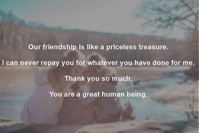 Image of three friends sitting together & thank you message for friends message on it.