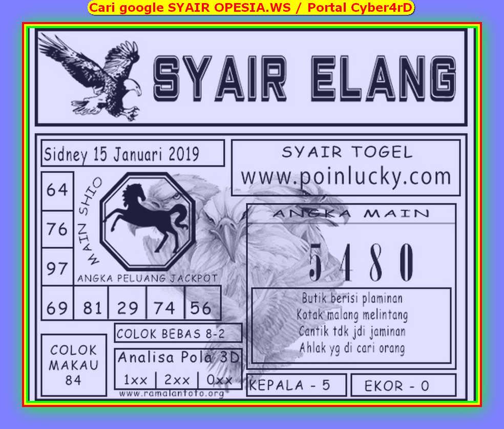 Kode syair Sydney Rabu 15 Januari 2020 62