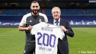 Benzema llegó a los 200 goles vestido de blanco