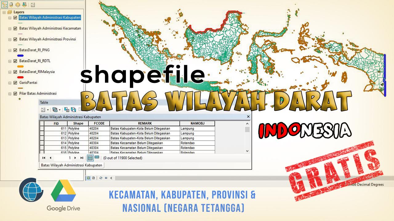Shapefile Batas Wilayah Darat Indonesia Lengkap