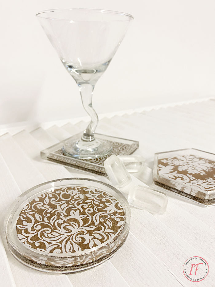 These DIY Resin Coasters with a pretty Damask pattern are an easy resin craft for beginners and you'll have unique drink coasters you can be proud of.