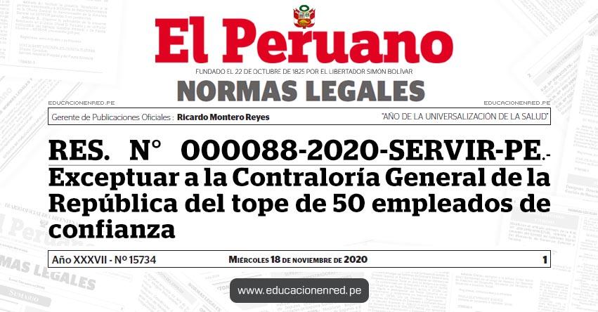 RES. N° 000088-2020-SERVIR-PE.- Exceptuar a la Contraloría General de la República del tope de 50 empleados de confianza