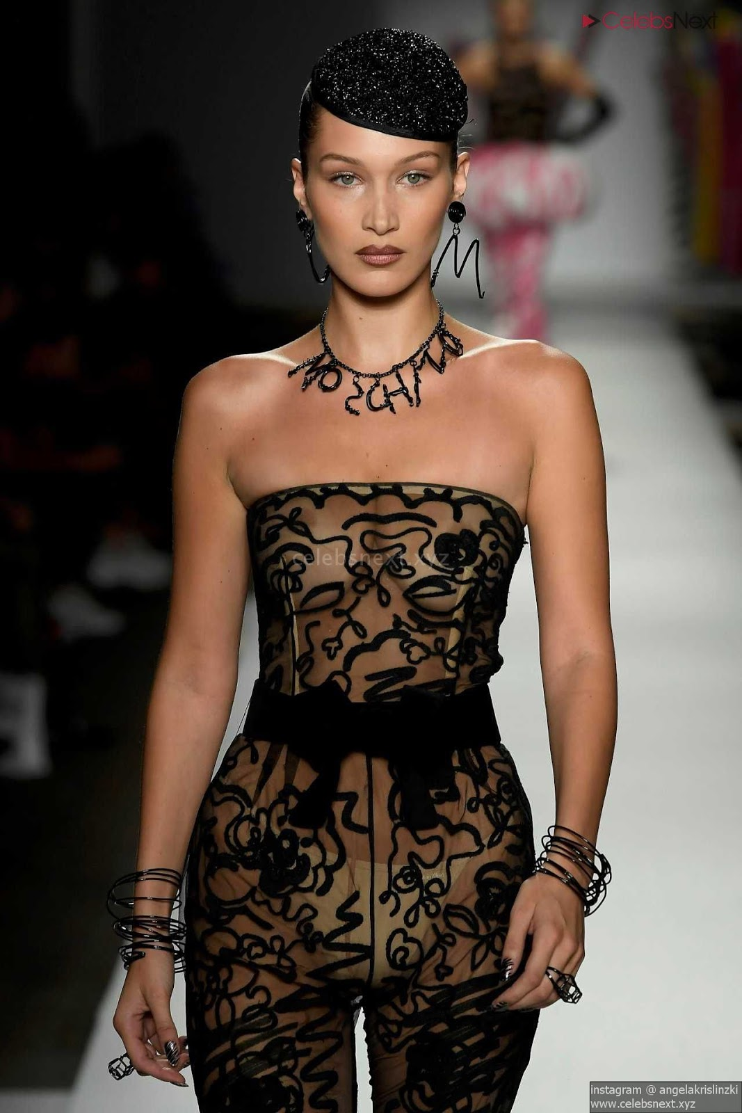 Bella Hadid See Thru Fashion Show Beautiful Boobs September 2018 Nipples Exposed l- CelebrityBooty.co Exclusive
