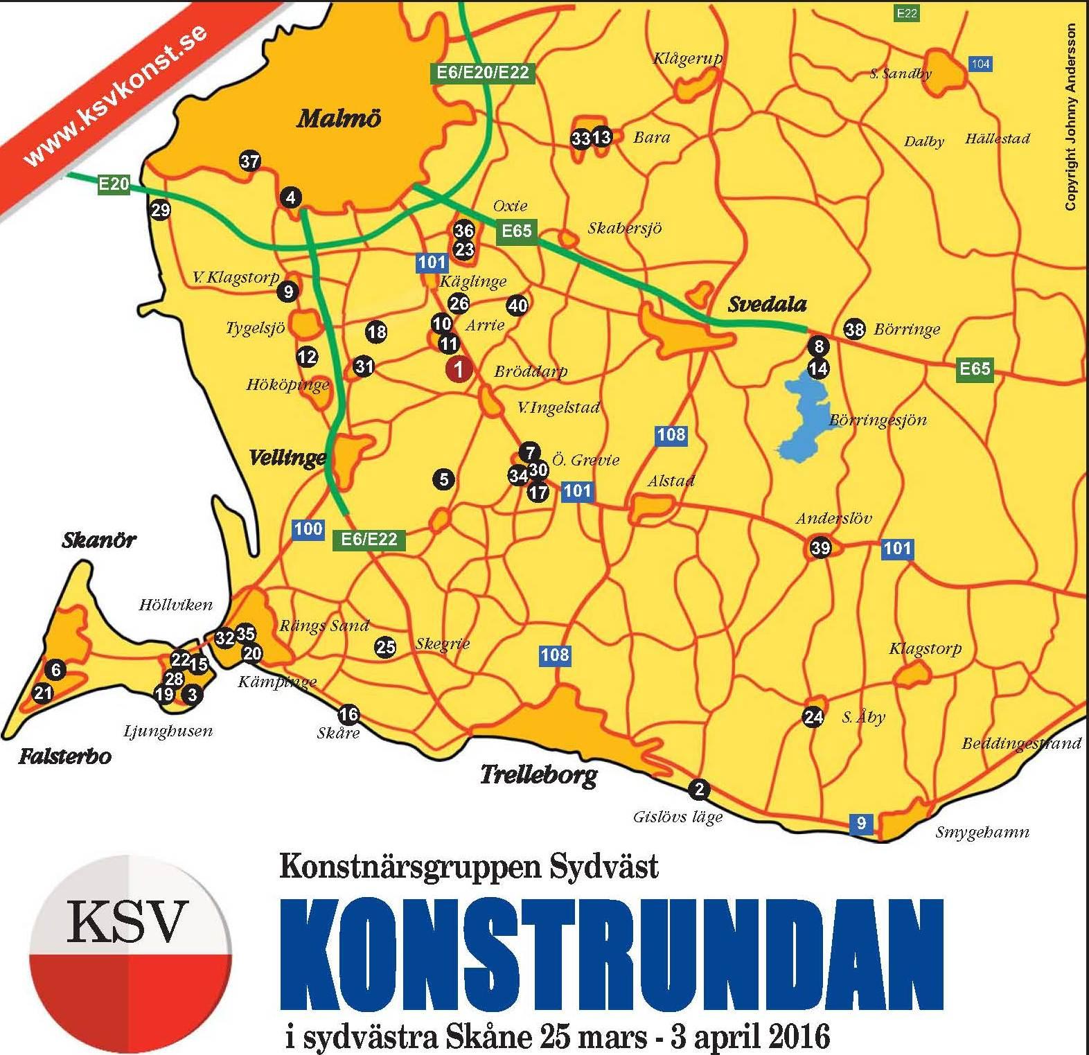 konstrundan österlen karta Konstrundan Skåne Karta | skinandscones konstrundan österlen karta