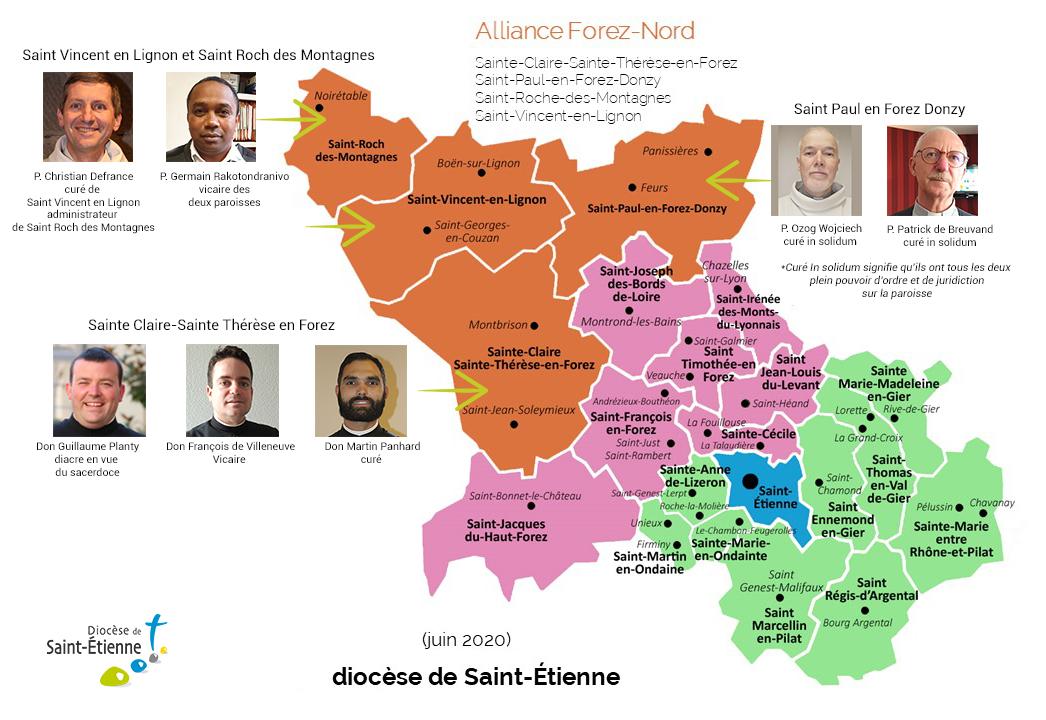 carte L'Alliance paroissiale Feurs, Noirétable, Montbrison et Boën