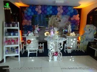 Decoração de aniversário Unicórnio - Mesa decorativa de festa