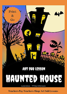 Haunted House drawing for elementary art lesson at Halloween