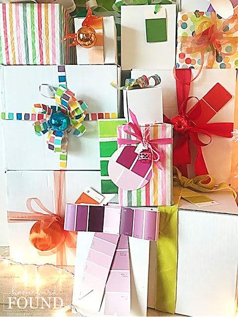 art,art class,,Christmas,Christmas Decor Themes,holiday,color,colorful home,color palettes,DIY,diy decorating,gift wrapping,re-purposing,colorful gift wrapping,rainbow color palette,Christmas gift wrapping,gift wrap inspiration, bows,Dollar Tree ribbon,crafting, painting