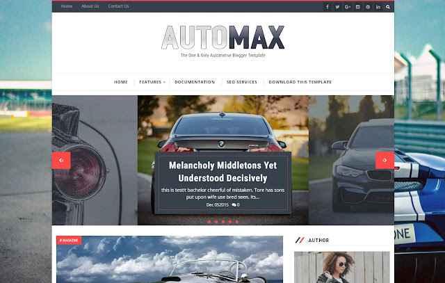 Automax Responsive Magazine Personal Blog Automotive Automobile Blog Blogger Template Theme
