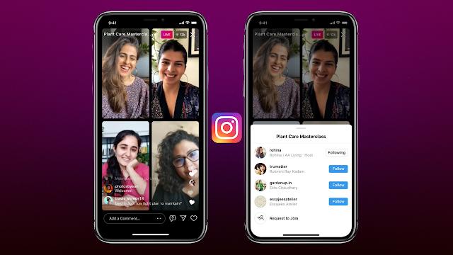 """انستغرام """"instagram"""" يطلق ميزة البث المباشرة مع 4 اشخاص"""