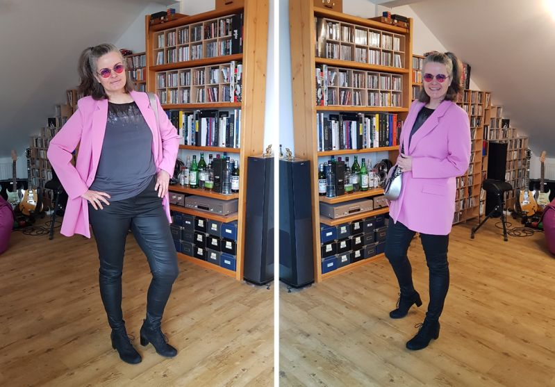 Oversized Blazer in Pink zur Lederröhre und Zoe Lu