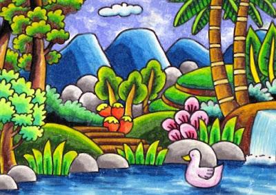 contoh gambar pemandangan alam dan air
