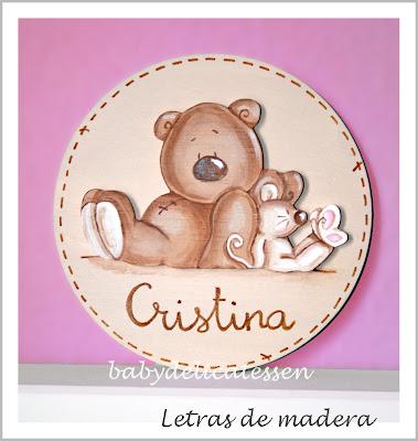 placa de puerta infantil oso y ratón  nombre Cristina babydelicatessen