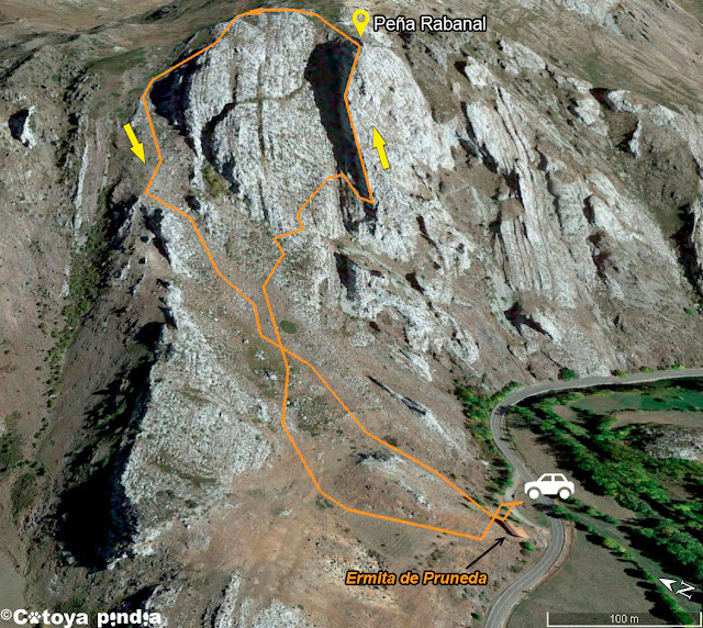 Mapa 3D de la ruta a Peña Rabanal por el espolón anaical desde la Ermita de Pruneda.