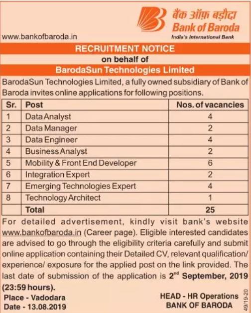 Bank of Baroda Recruitment 2019 Apply Online (30 Vacancies