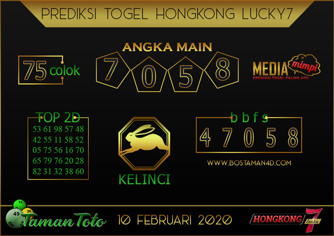 Prediksi Togel HONGKONG LUCKY 7 TAMAN TOTO 10 FEBRUARY 2020
