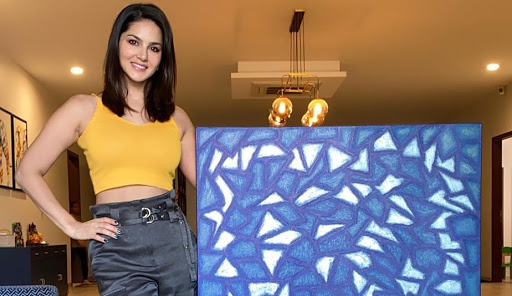 Actress Sunny Leone shared her art broken glass