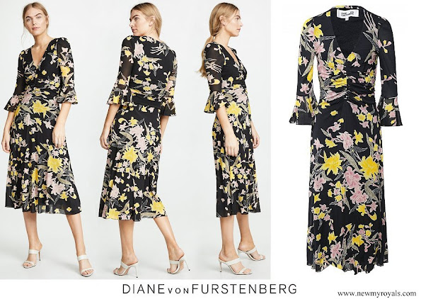 Princess Marie wore a new floral print midi dress from Diane von Furstenberg.