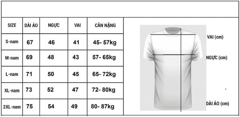 Bảng size áo thun(áo phông) nam theo số đo cơ thể