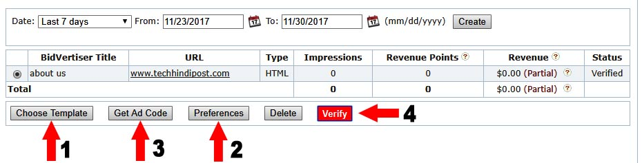 how to submit ads from bidvertiser account