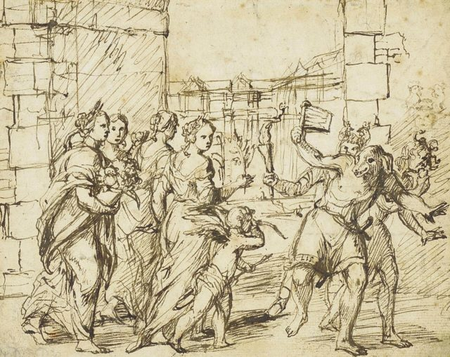 The Lupercalian Festival in Rome  (ca. 1578–1610), drawing by the circle of Adam Elsheimer.