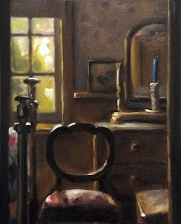 Oil painting of the interior of a room featuring a balloon back chair and a window.
