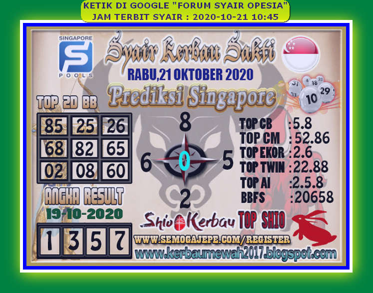 Kode syair Singapore Rabu 21 Oktober 2020 96