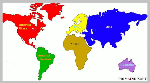 peta dunia dan benua