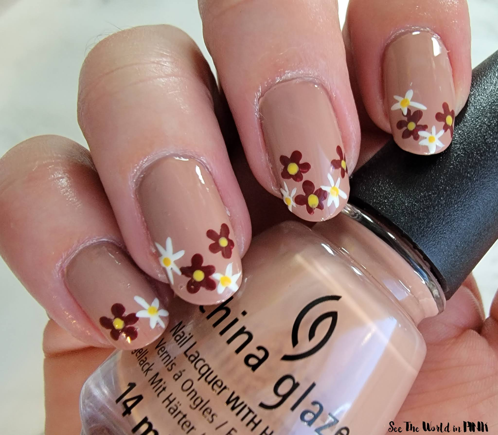 Manicure Sunday - Neutral Fall Floral Nails