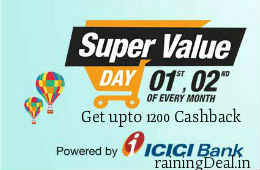 Amazon Super Value Days Shop & Get upto 1200 Cashback Valid till 2 April 2017