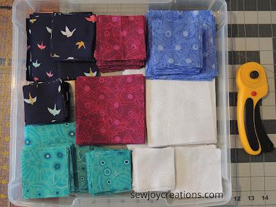 quilt fabric cut Dazzle quilt scrapbook organizer bin fabric storage