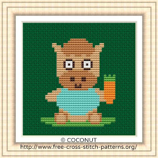 BABY HORSE, FREE AND EASY PRINTABLE CROSS STITCH PATTERN