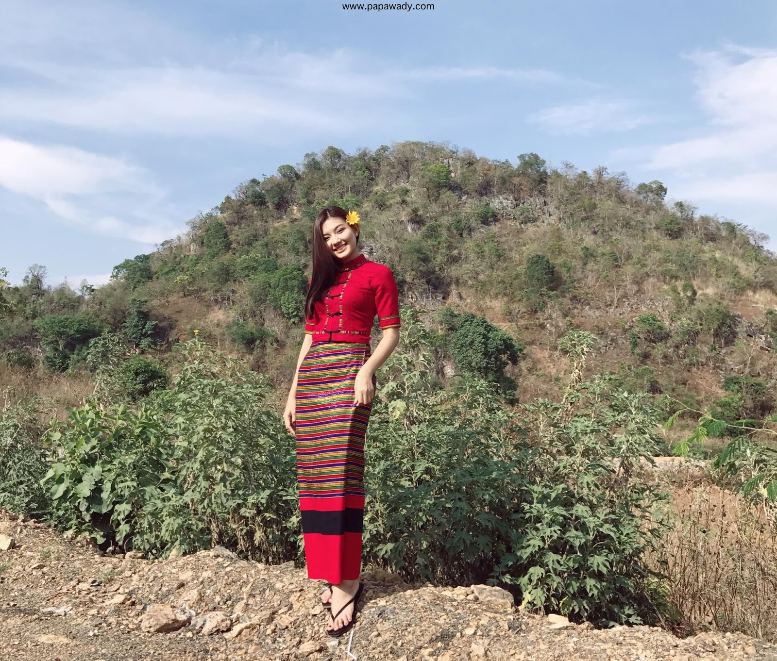 May Myint Mo Beautiful Red Burmese Fashion Style At Ho Pone Town in Myanmar